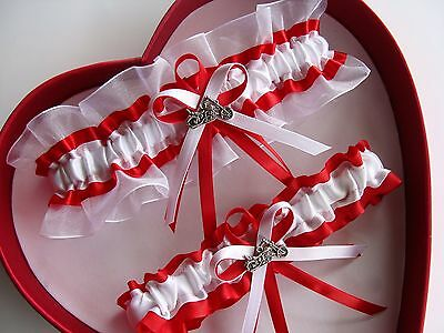 NEW Wedding Garter White Red Prom Homecoming GetTheGoodStuff A+ Motorcycle