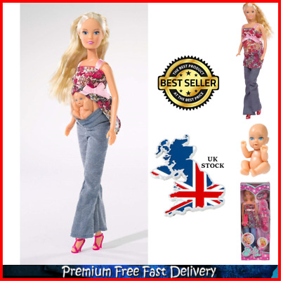 Removable Tummy Baby +13 Accessories Steffi Love Barbie Girl Pregnant Doll Toy