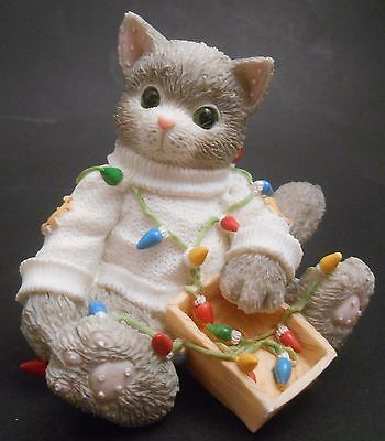 Calico Kittens You Brighten My Holidays EUC 178365 Cat Tangled Christmas Lights