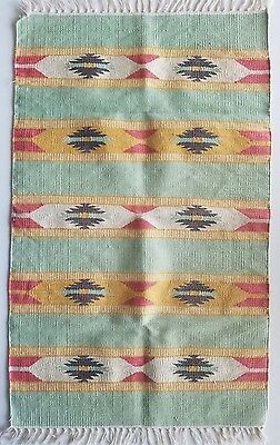 Vintage Aztec Native Hand Mexican Small Multi-Color Rug Carpet