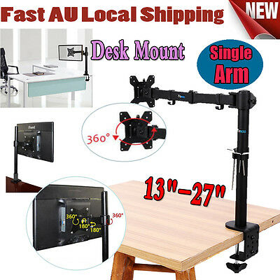 "Adjustable Single Arm LCD Monitor Desk Stand Mount for 13""-27"" Computer Screens"