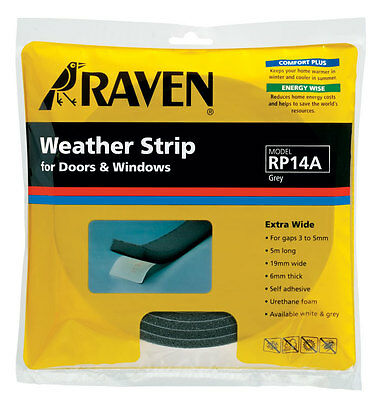 5 x RAVEN 5M Extra Wide Weather Strip Doors & Windows Grey RP14A For 3-5mm Gap