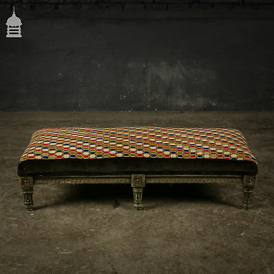 18th C Ornately Carved Hardwood Foot Stool with Colourful Upholstery