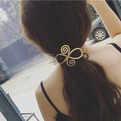 Women Celtic Knots Hairpin Crystal Alloy Heart Hair Clip Barrette Pin Bun Holder