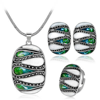 Drip Oil Antique Silver/Gold Necklace Earrings Sets Gorgeous Unisex Jewelry Set