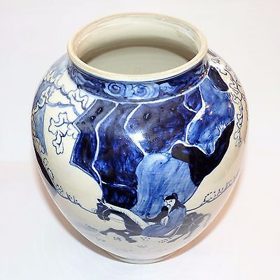 ANTIQUE ORIENTAL BLUE & WHITE PORCELAIN PEOPLE HORSES VASE GC c1880's 1399g