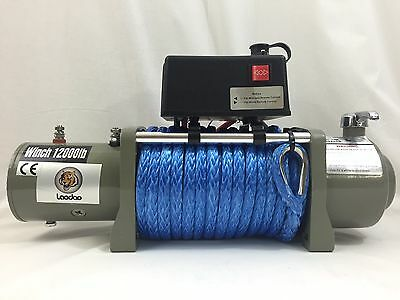 NEW12V 12000LBS Synthetic Rope Electric Winch Wireless Remote ATV 4WD Boat