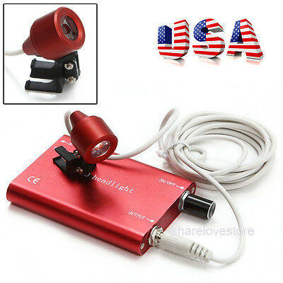 Red Portable LED HeadLight Lamp for Dentist Surgical Medical Binocular Loupe