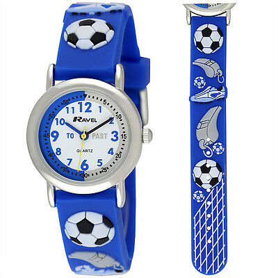 Ravel Kids Time Teacher Football Watch with 3D Graphics on Blue Silicone Strap