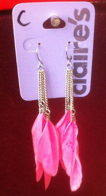 Claire/'s Claires Accessories Official Earrings Feather White Pink £7 RRP