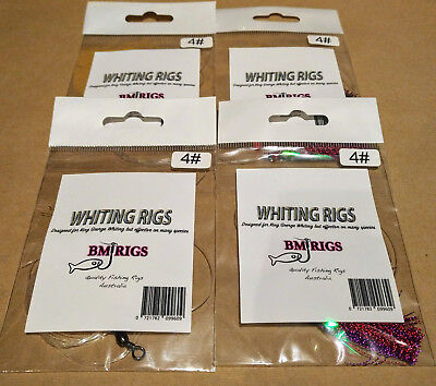 BM RIGS Whiting Fishing Rigs with flasher circle hooks 4-pack
