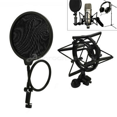 New Black Universal Microphone Shock Mount For Large Diameter Condenser Mic Hot