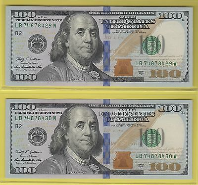 2009A  Federal Reserve One Hundred Dollar Bills ..$100..2 Consecutive Uncs..2930