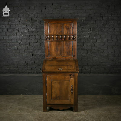 18th C French Solid Oak Bureau with Turned Detail