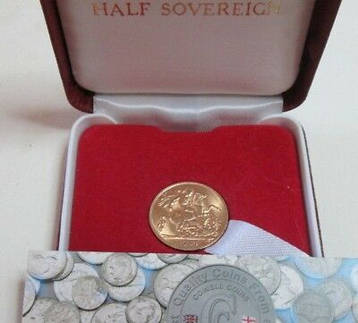 1913 George V Gold Half Sovereign London Mint Spink 4006 Bare Head 22 ct