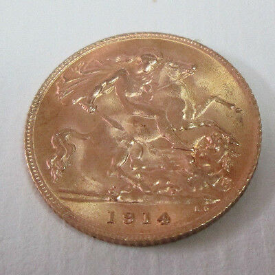 1914 George V Gold Half Sovereign London Mint Spink 4006 Bare Head 22 ct