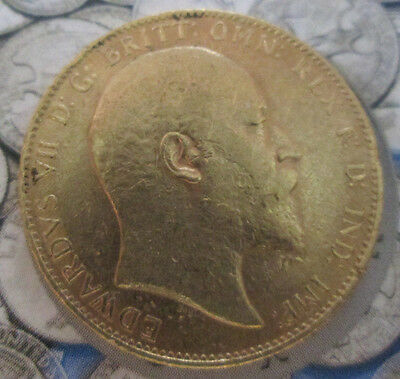 1910 EDWARD VII Gold FULL Sovereign Spink 3969  BARE HEAD 22 ct