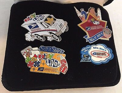 EBAY LIVE USPS Pin set 2004 - 2005 - 2006 - 2007 pins in velour box - Boxed Set