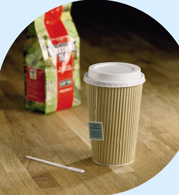 * Kraft Ripple Triple Wall Hot Drink Paper Disposable Cups 25-500 Tea Coffee Lid