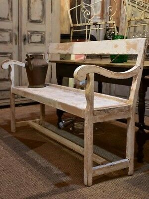 Early 20th century French garden bench seat with white patina