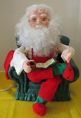 Vintage Animated Santa Claus / Santa With Pipe In Easy Chair / Santa's Best 1993