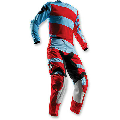 2018 Thor Mx Pulse Level Powder Blue Red Adult Race Gear Combo Jersey Pants Atv