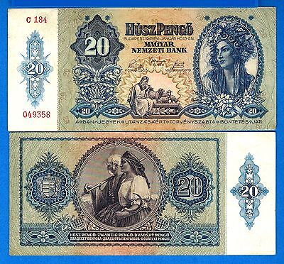 Hungary P-109 20 Pengo Year 1941 Circulated FREE SHIPPING