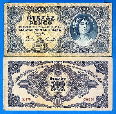 Hungary P-117 500 Pengo Year 1945 Circulated Banknote Europe