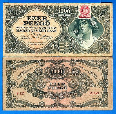 Hungary P-118b 1000 Pengo with Stamp Year 1945 Circulated Banknote Europe