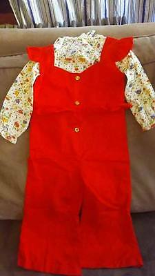 Vintage Children's Outfit~1970's~Girls 2 piece ~Size 3~Bell Bottoms~flowered