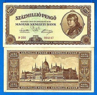 Hungary P-124 100 Million Pengo Year 1946 Circulated Banknote FREE SHIPPING