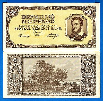 Hungary P-128 1 Million Milpengo Year 1946 Circulated Banknote Europe
