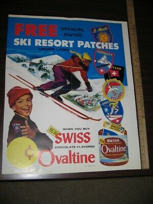 OVALTINE 1960s snow skiing resort premium patch offer St Moritz store poster