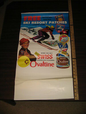 OVALTINE 1960s Swiss snow ski resort premium patch poster Zermatt SC Villars