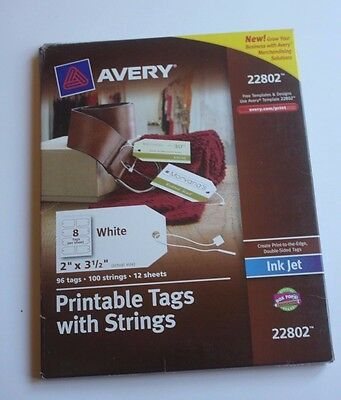 """Avery Printable Tags with String 22802 96 tags 2""""x 3 1/2"""""""