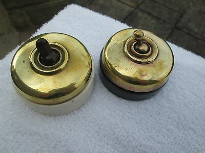 2 x VINTAGE /ANTIQUE BRASS AND CERAMIC ELECTRIC LIGHT  SWITCHES, LANDOR/ SLICK