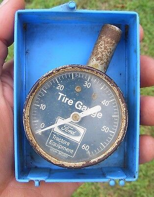 Vintage FORD Tractor Farm Tractor Dealer Tire Air Pressure Gauge Tool - Working