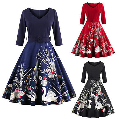Vintage Womens 50s 60s Retro Swan Rockabilly Pinup Housewife Party Swing Dress