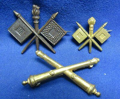 WWI and WWII British Made Army Artillery and Signal Insignia Lot Of 3 by Gaunt