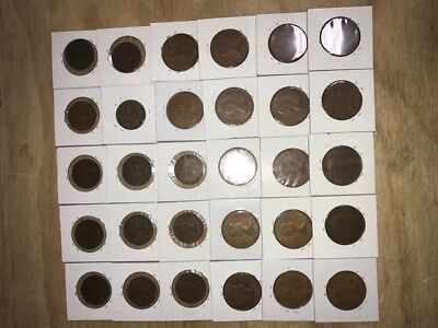 Lot of 30 half pennies and pennies