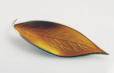 Vintage David Andersen Norway Sterling Silver  Yellow Enamel Leaf Brooch