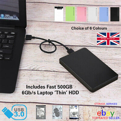 "External 500GB USB3 2.5"" Slim Portable Hard Drive HDD for PC/Laptop/Mac/PS4/XBOX"