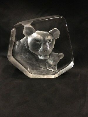 "LARGE 6-1/2"" Mats Jonasson LION LIONESS & CUB CRYSTAL SCULPTURE Signed Numbered"