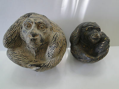 3d Monkey Figural Decorative Orbs Spheres Lot of 2