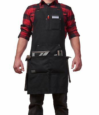 Waxed Canvas Work Apron with Hammer Loops + Tool Pockets [BUY DIRECT]
