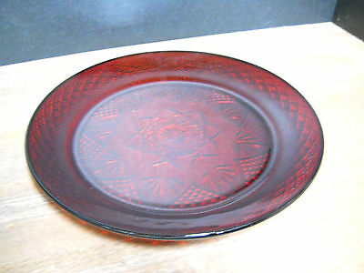 Dinner Plate Vintage Ruby Red Glass Luminarc Cristal D'Arques Durand France