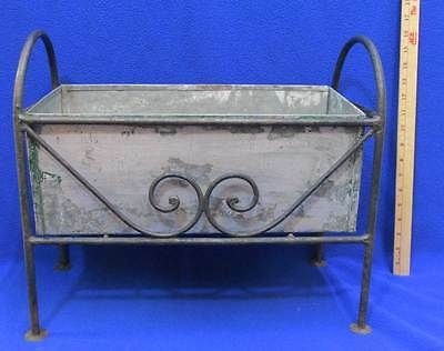 Vintage Grave Wrought Iron Planter Box Frame w/ Galvanized Steel Insert Flower