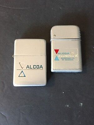 VINTAGE PROMOTIONAL   ADVERTISING  FLIP TOP LIGHTERS ALCOA ALUMINUM CO Lot Of 2