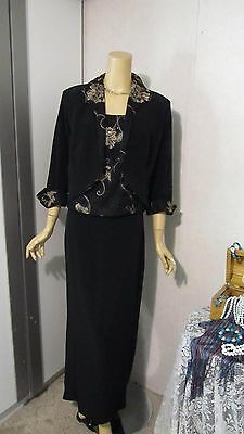 Mother Of The Bride Dress by Obsessions Couture-Size 14-Black and Gold 3 Piece