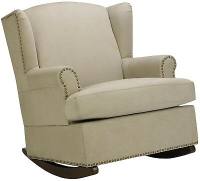 Baby Relax Harlow Wingback Nursery Room Rocker With Nail Heads, Beige